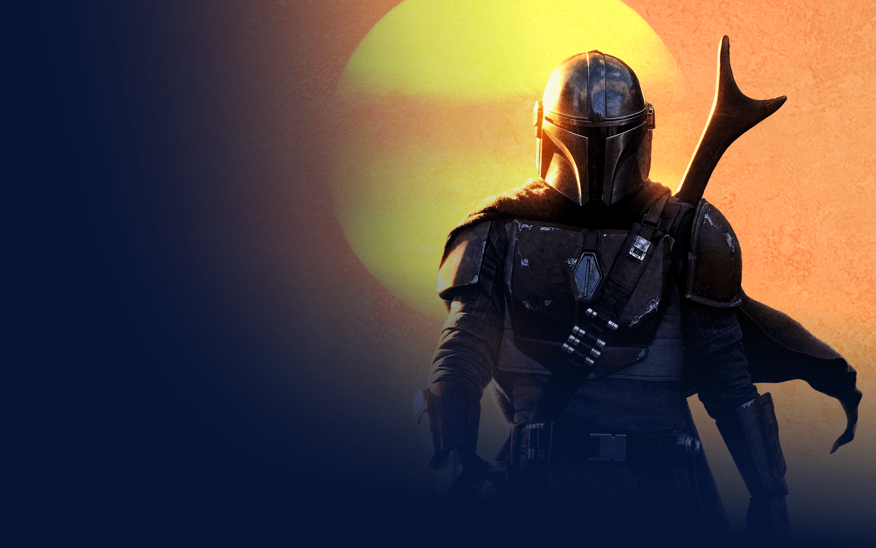 The Mandalorian, a lone gunfighter and bounty hunter, walking in front of a setting sun that is a fiery yellow and orange